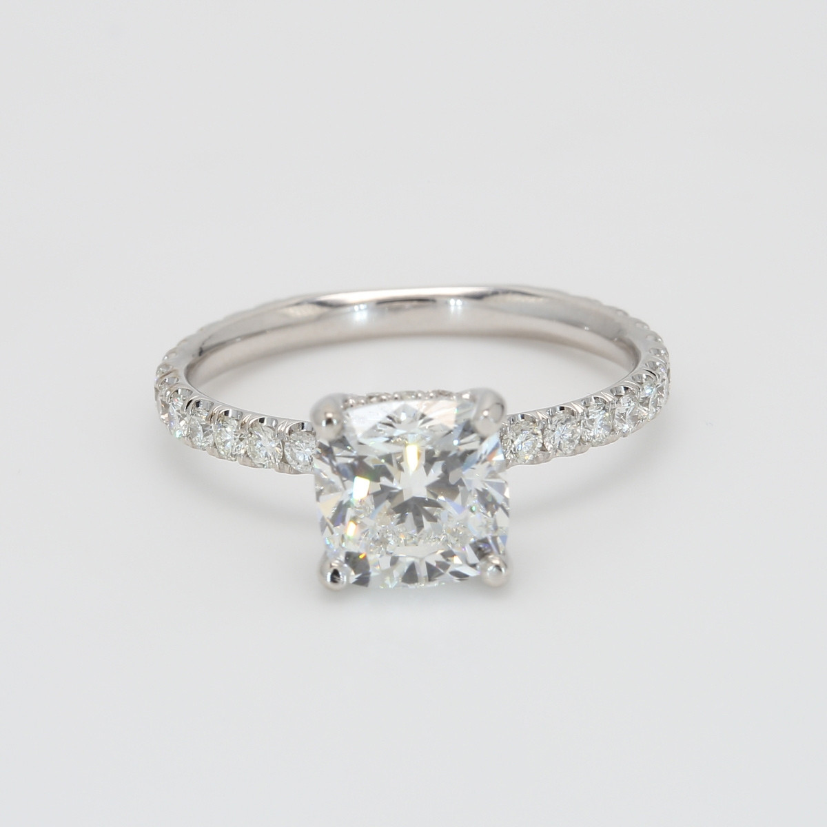 Custom Delicate Oliva Cushion Cut Engagement Ring
