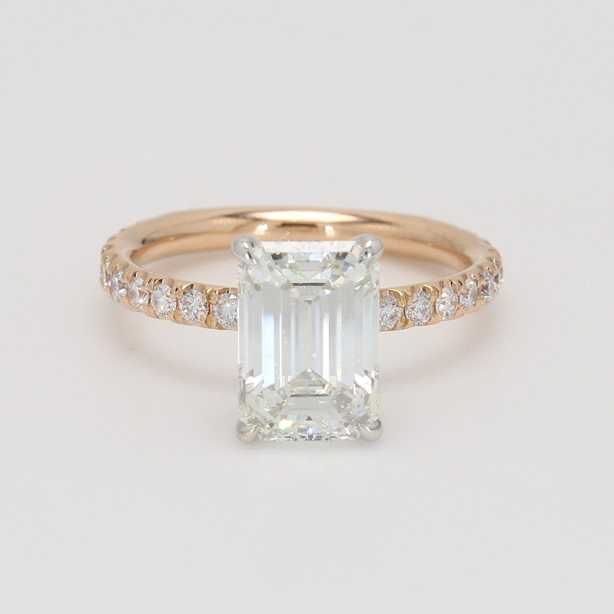 Custom Rose Gold and Platinum Emerald Cut Engagement Ring