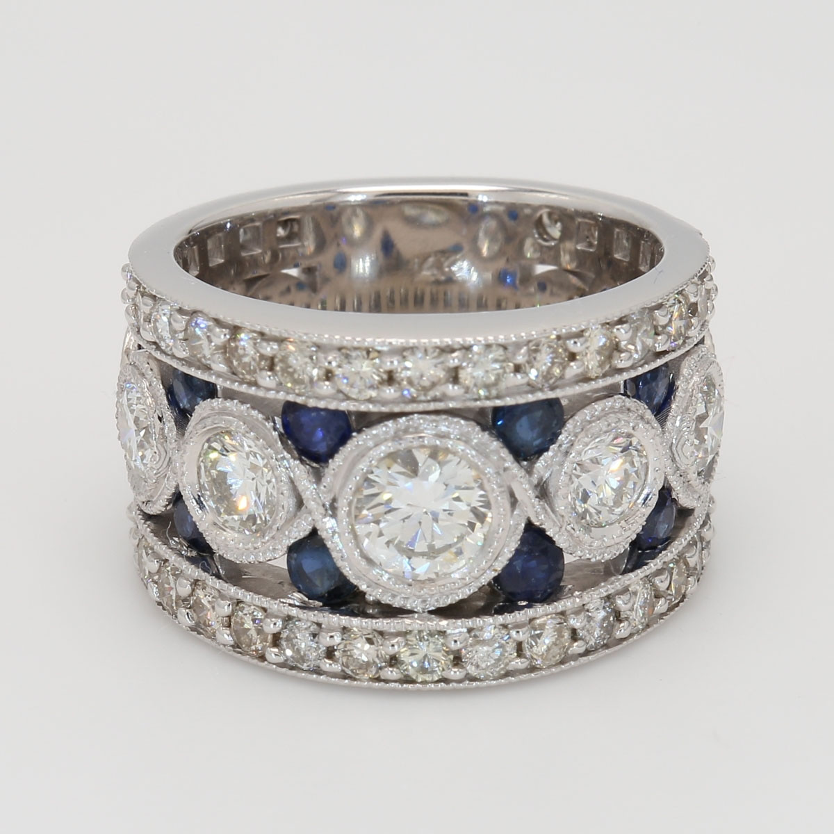 Ladies White Gold Diamond and Sapphire Band