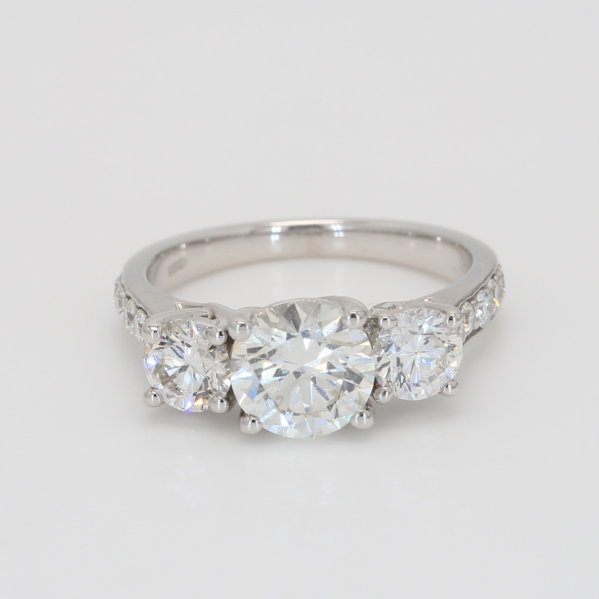 3 Stone Diamond Engagement Ring set in White Gold