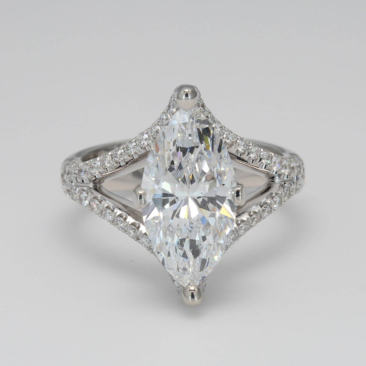 3.61 CT Marquise Cut Split Shank Engagement Ring
