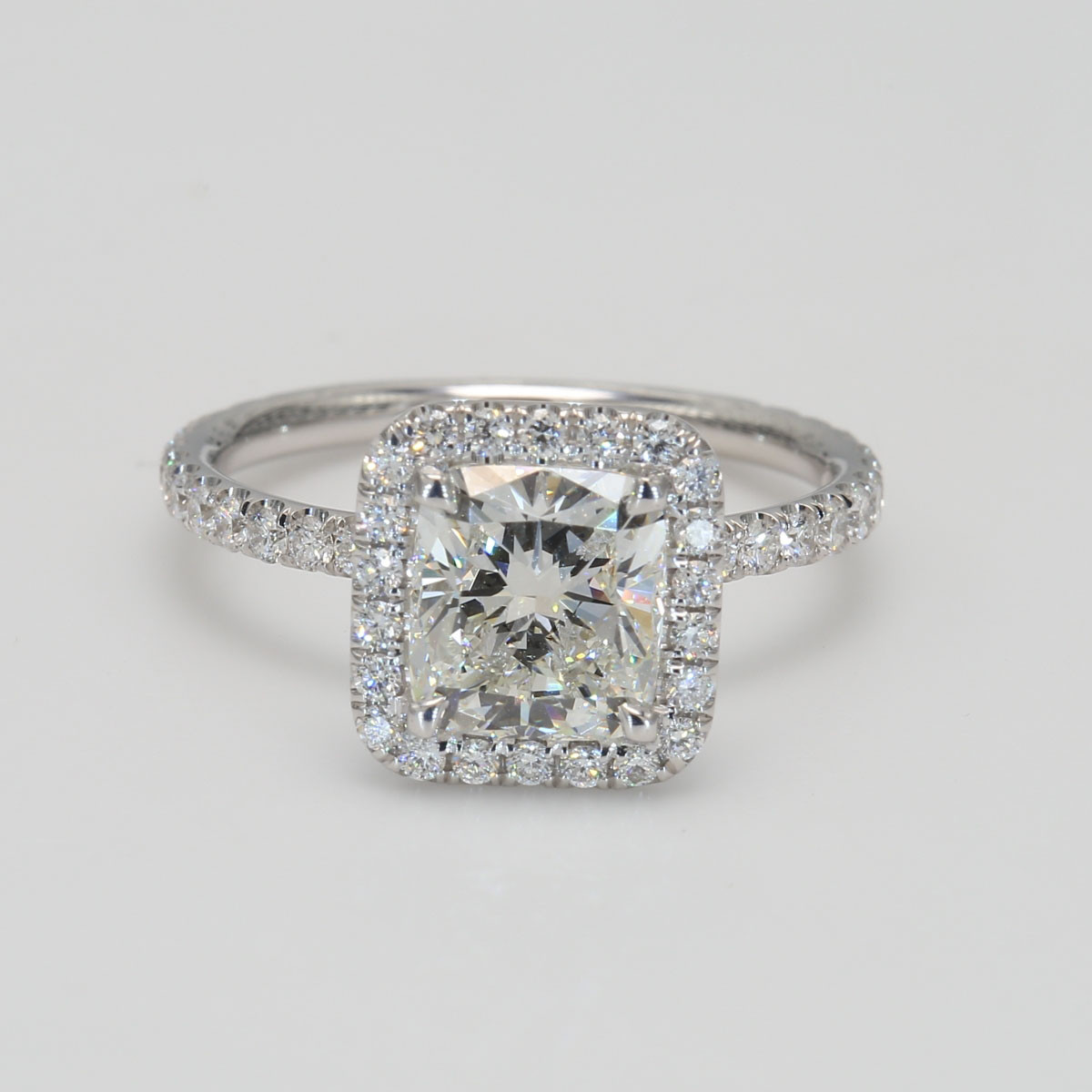 1.80Ct Cushion Cut Diamond Halo Engagement Ring in White Gold