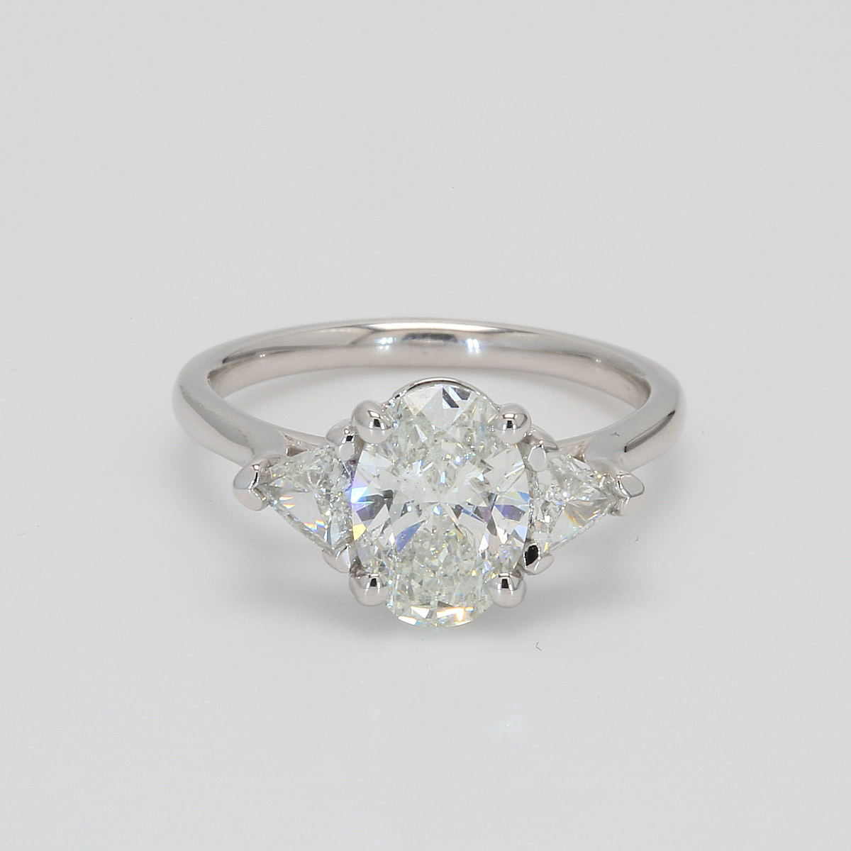 1.86 CT Oval and Trillion Engagement Ring