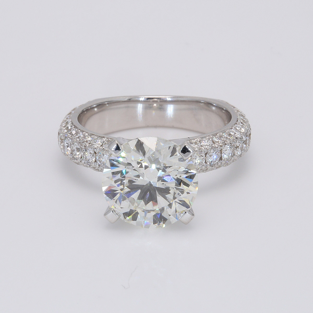 3.53CT Round Brilliant Micro Pave 18K Engagement Ring White Gold