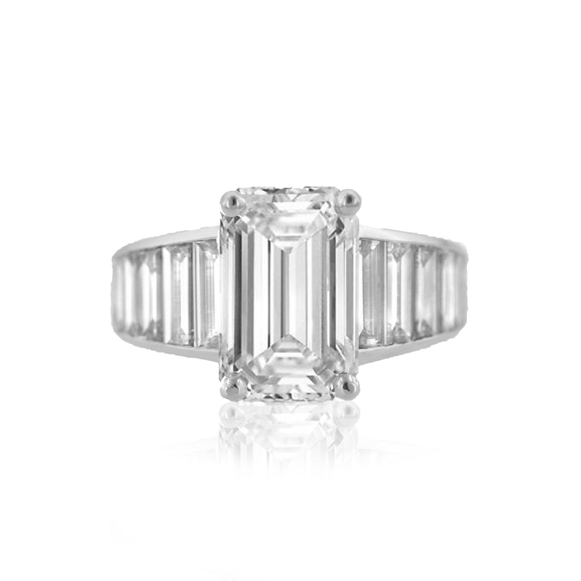 Extraordinary Emerald Cut Diamond Engagement Ring
