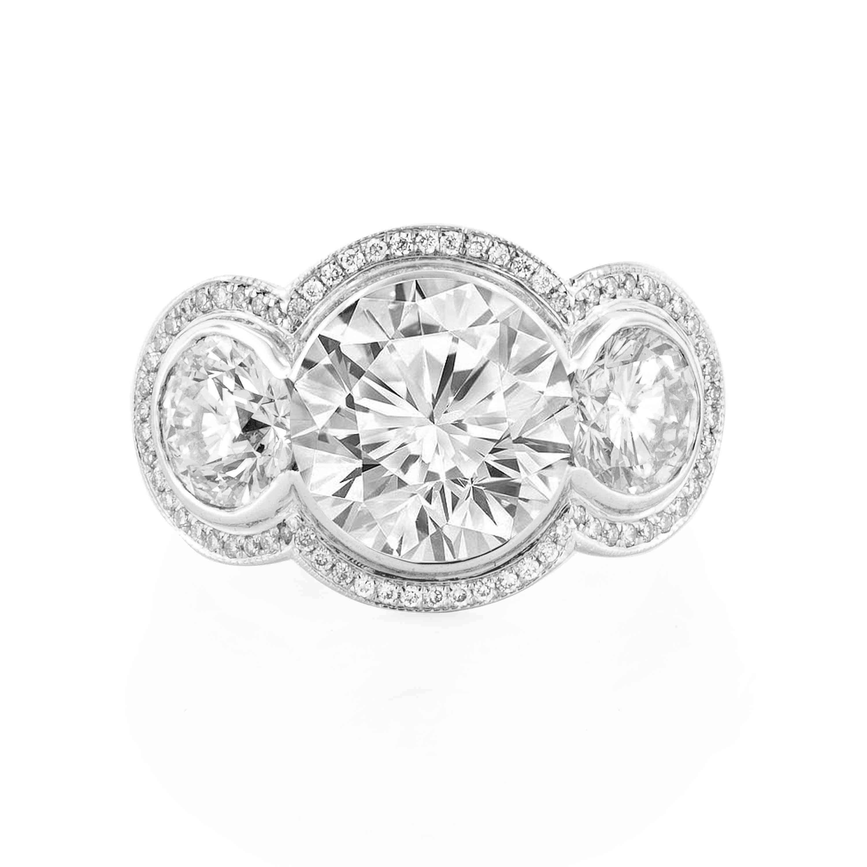 Three Stone Round Halo Ring