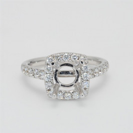 Ladies' Engagement Ring Setting 0.80tw  18K White Gold
