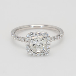 1.02 Carat Round Diamond Halo Engagement Ring in White Gold