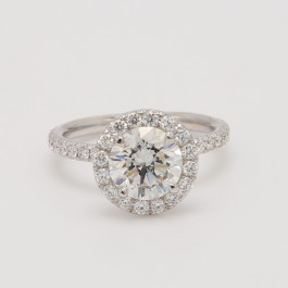 Halo Semi Mount Diamond Engagement Ring in 18k White Gold