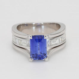 3.01Ct Emerald Cut Blue Sapphire Engagement Ring