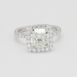 GIA 2.32Ct Cushion Cut Diamond Halo Engagement Ring