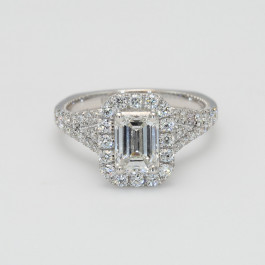 GIA 1CT Emerald Cut Center Halo Side Profile Engagement Ring