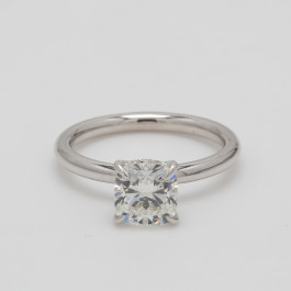 1.5CT Cushion Cut Engagement Ring with Hidden Halo