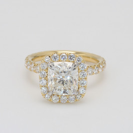1.91 CT Cushion Cut Diamond Halo Engagement Ring