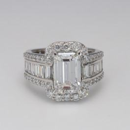 3.01CT Emerald Cut Diamond Halo White Gold Engagement Ring