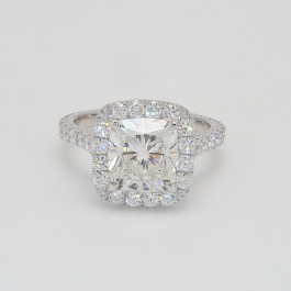 3.01 Cushion Cut Semi Mount Halo Engagement Ring