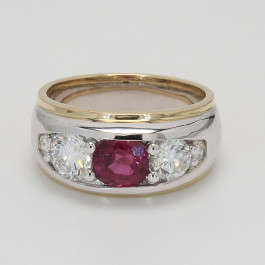 CUSTOM GENT'S RING  1.88CT CUSH RUBY D2.18TW