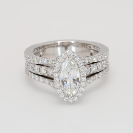 1.72Ct Marquise Diamond Halo Engagement Ring
