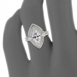 Pear Shaped Custom Micro Prong Engagement Ring w/ Matching Band