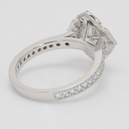 Princess Cut Milgrain Diamond Halo Engagement Ring