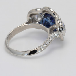 4.73CT Blue Sapphire Ring with 1.92ctw Diamonds in Platinum