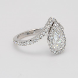1.85 CT Pear Shaped Diamond Halo Engagement Ring