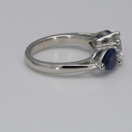1.24CT Round Diamond 3 Stone Ring with 2 Blue Pear Sapphires