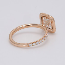 1.70CT Cushion Engagement Ring Setting .75D  Halo  18K Rose Gold