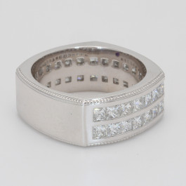 Ring Gents 3/4 Way Band 4.43 Diamond Channel Set Princess Cut Burnish Round Sapphire 18KW