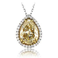 fancy yellow diamond pendant with reflection